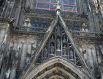 Cologne (Koln) Cathedral of St. Peter and St. Mary, detail of gable, High Gothic, Cologne, Germany