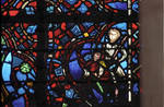 Rouen Cathedral, Good Samaritan Window (detail), the robbers leave the covered in wounds