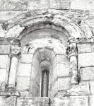San Martin de Sobran, window on the east end of the south side of the church, c. 1100. Romanesque, Villajuan, Salnes area of Pontevedra Province, Galicia, Spain