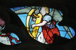Sens Cathedral, St. Stephen's Cathedral, Angelic Musician Playing the Harp, detail of north transept rose window, Flamboyant Gothic stained glass, early 16th century, France.