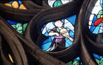 Sens Cathedral, St. Stephen's Cathedral, Angelic Musician, detail of north transept rose window, early 16th century, Flamboyant Gothic stained glass, France.