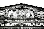 San Marcos, former Mother House of the Military/Religious Order of Santiago. Built in the 12th century (Romanesque), rebuilt in the Plateresque Style 1513-1539 by Juan de Badajoz, detail of the upper part of the chapel facade; note Santiago shells used as architectural ornament, Leon, Spain