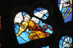 Sens Cathedral, St. Stephen's Cathedral, Angelic Musician Plays Viol, detail of north transept rose window, Flamboyant Gothic stained glass, early 16th century, France.