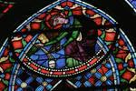 Sens Cathedral, St. Etienne (St. Stephen), Choir, window C, Saint Stephen (Etienne) Window, 13th century,  Gothic stained glass, France.