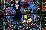 Sens Cathedral, St. Etienne (St. Stephen), Choir, window C, Saint Stephen (Etienne) Window, 13th century,  Gothic stained glass, France