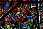 Sens Cathedral, St. Etienne (St. Stephen), apse window L, Good Samaritan Window, God appears before Moses in the Burning Bush on Mt. Sinai, 13th century, Gothic, stained glass, France.