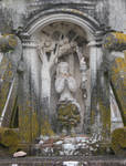 San Andres De Hio Church, base of the Cruceiros with image of Eve eating the apple,18th century, by sculptor Xose Cerviio (Pepe da Pena), Late Baroque, Hio, Galicia, Spain