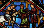 Sens Cathedral, St. Etienne (St. Stephen), apse window L, Good Samaritan Window, Samaritan brings wounded Jewish man to an inn, 13th century, Gothic, stained glass, France