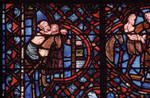 Rouen Cathedral, Good Samaritan Window, 13th century, Gothic stained glass, France.