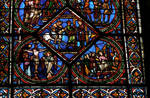 Sens Cathedral, St. Etienne (St. Stephen), apse window L, Good Samaritan Window, lower portion, 13th century, Gothic, stained glass, France.