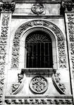 San Marcos, former Mother House of the Military/Religious Order of Santiago. Built in the 12th century (Romanesque), rebuilt in the Plateresque Style 1513-1539 by Juan de Badajoz, close up of window in facade, Leon, Spain