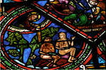 Sens Cathedral, St. Etienne (St. Stephen), apse window L, Good Samaritan Window, God chastising Adam and Eve, 13th century, Gothic, stained glass, France.