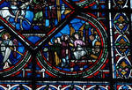 Sens Cathedral, St. Etienne (St. Stephen), apse window L, Good Samaritan Window,  13th century, Gothic, stained glass, France.