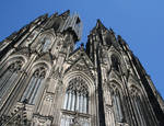 Cologne (Koln) Cathedral of St. Peter and St. Mary, detail of towers, west facade High Gothic, Cologne, Germany