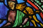 Sens Cathedral, St. Etienne (St. Stephen), apse window L, Good Samaritan Window, Flagellation of Christ, 13th century, Gothic, stained glass, France.