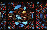 Rouen Cathedral, Good Samaritan Window (detail), doctor at the bedside of the wounded man