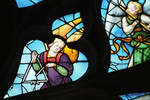 Sens Cathedral, St. Stephen's Cathedral, Angelic Musician Plays Triangle, detail of north transept rose window, Flamboyant Gothic stained glass, early 16th century, France.