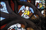 Sens Cathedral, North transept rose window, detail of angels playing instruments, 1516, Flamboyant Gothic, stained glass, France.