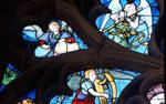 Sens Cathedral, St. Stephen's Cathedral, Angelic Musician Playing a Flute, detail of north transept rose window, Flamboyant Gothic stained glass, early 16th century, France.