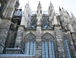 Cologne (Koln) Cathedral of St. Peter and St. Mary, detail of choir buttresses and windows, High Gothic, Cologne, Germany