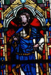 Sens Cathedral, St. Etienne (St. Stephen), Window S, 14th century, Apostle James the Minor, Gothic, stained glass, France.