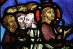 Sens Cathedral, St. Etienne (St. Stephen), apse window L, Good Samaritan Window, Christ before Pilate, 13th century, Gothic, stained glass, France.