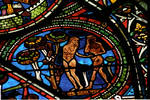 Sens Cathedral, St. Etienne (St. Stephen), apse window L, Good Samaritan Window, Adam and Eve eat from the Tree, 13th century, Gothic, stained glass, France.