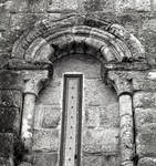 San Martin de Sobran, window on the west end of the south side of the church, c. 1100. Romanesque, Villajuan, Salnes area of Pontevedra Province, Galicia, Spain