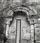 San Martin de Sobran, window on the west end of the south side of the church, c. 1100. Romanesque, Villajuan, Salnes area of Pontevedra Province, Galicia, Spain