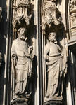 Cologne (Koln) Cathedral of St. Peter and St. Mary, detail of jamb figures of saints, High Gothic, Cologne, Germany