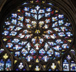 Sens Cathedral, St. Stephen's Cathedral, north transept rose window, Rayonnant Gothic stained glass, France