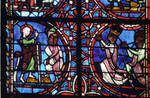 Rouen Cathedral, Sts. Peter and Paul Window, Apse, window 26, section 4, Paul converts the Jews and the emperor and his wife who represented kneeling in prayer, their hands united