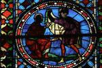 Sens Cathedral, St. Etienne (St. Stephen), Choir, window C, Saint Stephen (Etienne) Window, 13th century,  Gothic stained glass, France