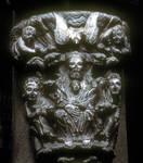 Santiago de Compostela, Portico de la Gloria, base of trumeau, Trinity