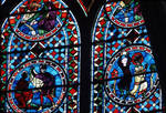 Sens Cathedral, St. Etienne (St. Stephen), Choir, window C, Saint Stephen (Etienne) Window, 13th century,  Gothic stained glass, France.
