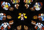 Sens Cathedral, St. Stephen's Cathedral, Christ at the center of Angelic Musicians Playing, detail of north transept rose window, Flamboyant Gothic stained glass, early 16th century, France.
