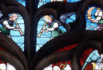 Sens Cathedral, St. Stephen's Cathedral, Angelic Musicians Blowing Horns, detail of north transept rose window, Flamboyant Gothic stained glass, early 16th century, France.