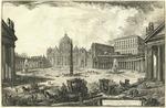 Veduta della gran Piazza e Basilica di S. Pietro situato ove erano anticamente il Circo e gl'Orti di Cajo e Nerone nella Valla Vaticana