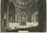 Veduta interna della Basilica di S. Pietro in Vaticano vicino alla Tribuna