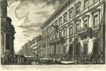Veduta nella Via del Corso del Palazzo dell' Accademia instuita da Luigi XIV Re di Francia per i Nazionali Francesi studiosi della Pittura, Scultura, e Architettura