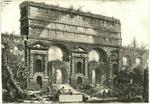 Veduta del Monumento eretto dall'Imperador Tito Vespasiano peraver ristaurati gl'Aquedotti dell'Acque dell'Aniene