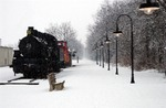 Photo of the Locomotive and the Kokosing Gap Trail in the Snow