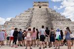 Tourists gathering at El Castillo, Chichén Itzá, Yucatán March 10, 2018