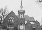 Fredericktown Presbyterian Church Facade with Clocktower and Tracery Window