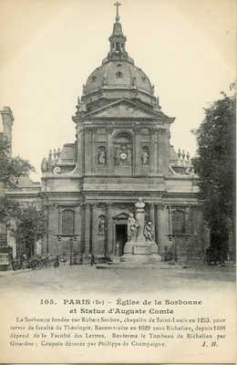 Eglise de la Sorbonne et Statue d'Auguste Comte